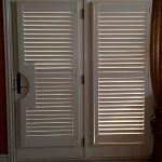 French doors with cutout to accomodate a pistol grip handle - Shutter - Columbia Blinds and Shutters