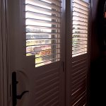 French doors with divider rails to control light and privacy - Shutter - Columbia Blinds and Shutters