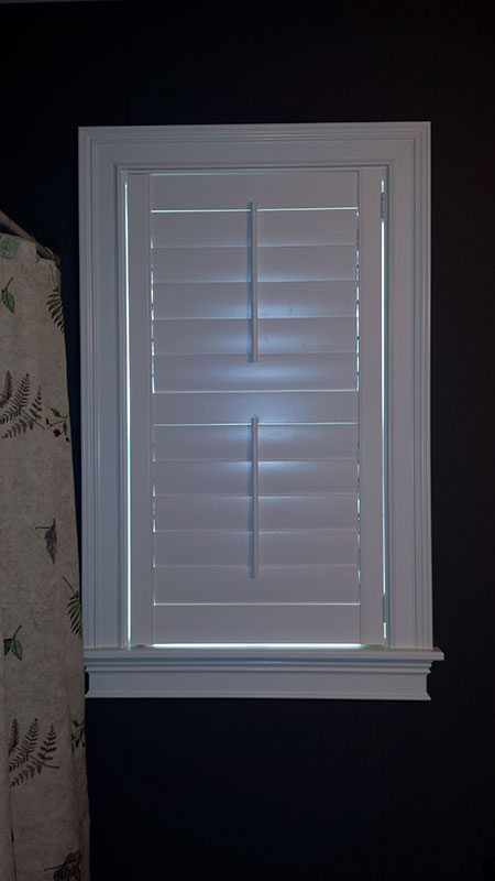 Norman Woodlore Shutter In A Bathroom   Columbia Blinds And Shutters