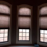 Operable Arched Honeycombs above Rectangular Honeycombs (2) - Specialty Window Coverings - Columbia Blinds and Shutters