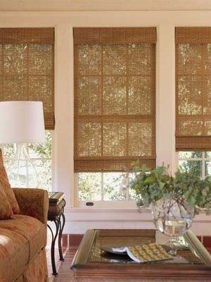Provenance Woven Woods in Reeds, Straws, Natural Grasses, Bamboo with Horizontal and Verticals from Columbia Blinds and Shutters