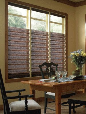 Roman Shades in Flat Pannel and Hobbled with Envisions or Persona from Columbia Blinds and Shutters