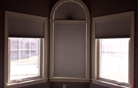 Room Darkening HoneyComb's with half circle in Master Bedroom - Columbia Blinds and Shutters