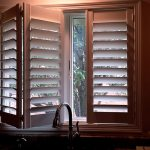 Shutters over sink with high faucet - Specialty Window Coverings - Columbia Blinds and Shutters