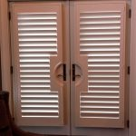 Side by Side French door pistol grip shutters - Columbia Blinds and Shutters