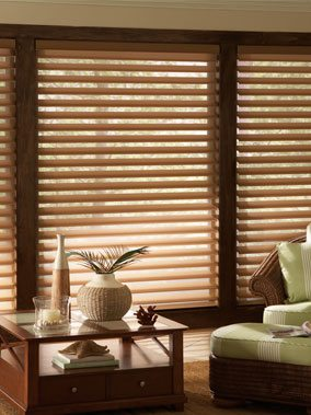 Soft Shades in Silhouettes, Pirouettes, Window Shadings and Sheer Shangri La Horizontals from Columbia Blinds and Shutters