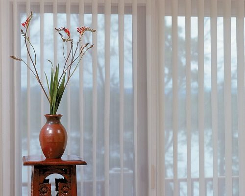 Verticals in PVC and Luminet and Sheers and Nantucket and Skyline Gliding Panels from Columbia Blinds and Shutters