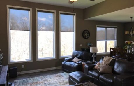 Comfortex Motorized Roller Shades with Silver Screen UV Ultra Violet protection installed by Columbia Blinds and Shutters in Columbia Missouri