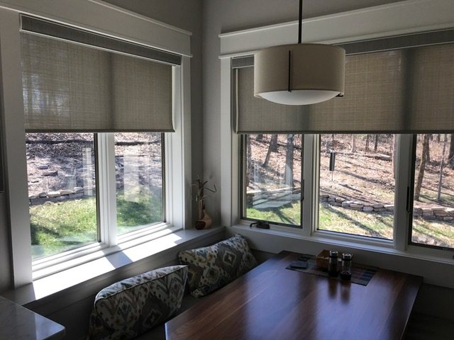 designer roller shades with decorative fabrics in cordless or motorized installed by columbia blinds and shutters - Motorized Roller Shades