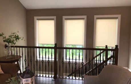 Roller Shades, cordless, stairwells, color, columbia blinds and shutters 1